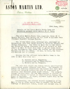 Aston Martin Press Release - 13 June 1951 - announcing Team and private entries to Le Mans