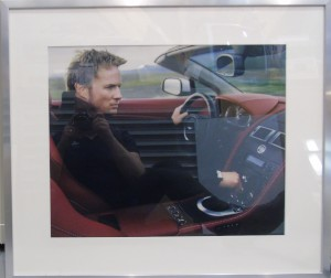 Framed photograph from the Aston Martin V8 Vantage Roadster lifestyle photographic shoot