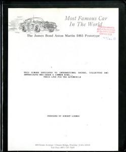 Car research file on the original James Bond DB5 - DP/216/1