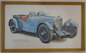 Framed drawing of a 1934 Aston Martin Mark 2 (drawn in 1966).
