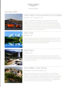 Leaflet for the Aston Martin Lake and Mountains of Austria tour, July 2012.