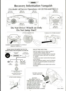 Laminated recovery information for the Aston Martin V12 Vanquish (2001-2007 model).