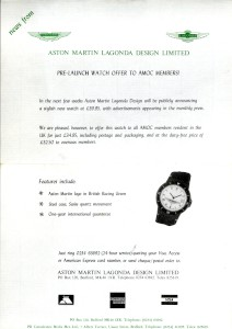 Flyer from Aston Martin to AMOC members, promoting new watch