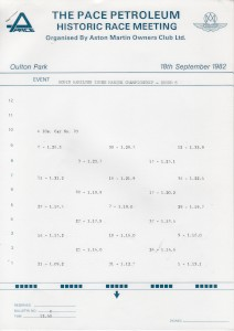 Practice times showing grid positions for Historic Car Races on 18th September 1982