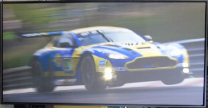 Stretched canvas print of a V12 Vantage GT3 racing