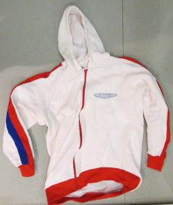 White hoodie with 'Turbocharged Link Aston Martin by Robin Hamilton' on back