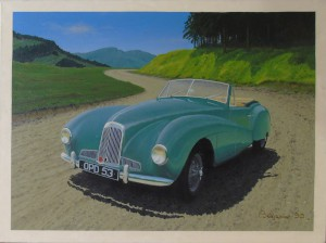 Large oil painting of an Aston Martin Two Litre Sports Drophead coupe, OPD 53 (AMC/50/15).