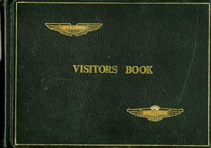 Visitor Book for the training room at the Aston Martin facility, Bloxham