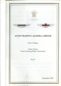 Aston Martin compiled Press Cuttings booklet, '4-door Saloon. 5-door shooting Brake Conversions - Part II' 1993