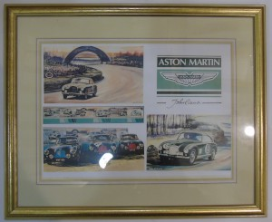 Colour print of a series of drawings by John Evans of Aston Martin DB2s competing at Le Mans.