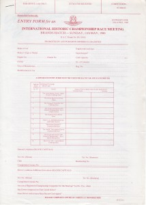Entry Form for FIA Historic Championship Race Meeting, Brands Hatch, 11 May 1980.
