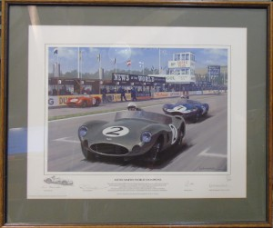 "Framed colour print '""Aston Martin World Champions"" by Keith Woodcock"