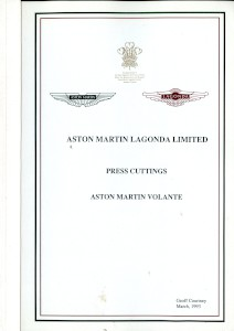 Aston Martin compiled Press Cuttings booklet, 'Volante' 1993