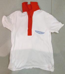 White Polo Shirt with 'Turbocharged Link Aston Martin by Robin Hamilton' on back