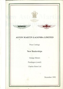 Aston Martin compiled Press Cuttings booklet, 'New Dealerships' 1993