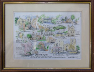 Watercolour and ink drawing of various landmarks in Newport Pagnell by Barbara Hilliam, 1991