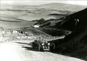Photograph of an Aston Martin Mark II driven by Tom Stewart, BDC Firle Hill Climb, 25 September 1949.