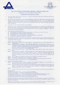 Supplementary Regulations for the Wiscombe Park Hill Climb on 24th April 1982
