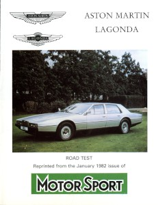 "Aston Martin produced reprint of Motorsport Article: ""Aston Martin Lagonda"""