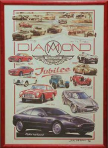 Framed Poster produced to commemorate the Aston Martin Owners Club Diamond Jubilee, 1935-1995