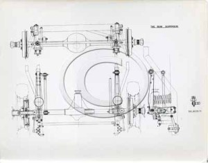 Technical drawing of the rear suspension for the DB2.