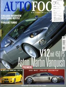 'Autofocus' German Magazine, November 2000 - 'Stunde De Siegers: Aston Martin V12 Vanquish'