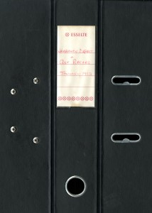 Black Lever Arch Folder with Warranty Defect and Costs Records, 1982-1984