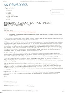 Press release - Honorary Group Captain Palmer reports for Duty!, 21/09/2017