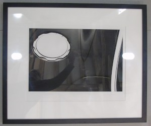 Framed photograph showing a close up of an Aston Martin V12 Vanquish fuel filler cap