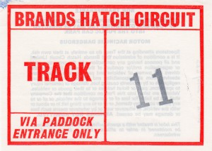 Brands Hatch 'Track' parking label for FIA European Historic Car Races on 22nd May 1983