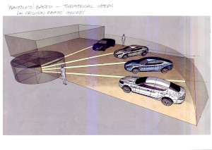 Set of original design sketches and ideas board for the 2009 Frankfurt Motorshow Aston Martin stand