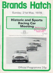 Programme for Historic and Sports Racing Car Meeting, Brands Hatch 21st May 1978