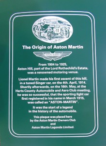 'The Origin of Aston Martin': a copy of the plaque placed at the top of Aston Hill, Aston Clinton, Buckinghamshire, UK in May 1997.