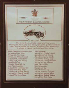 "Framed document commemorating an ""Aston Martin Owners"" club dinner held by Victor Gauntlett, Berkeley Hotel, London on the 16th March 1985"