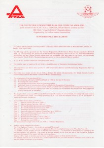 Supplementary Regulations for the Wiscombe Park Hill Climb on 25th April 1982