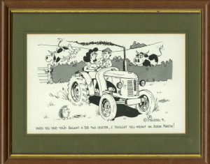 Framed Cartoon 'When you said you'd bought a DB two seater, I thought you meant an Aston Martin!'