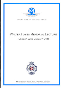 Menu for the 2019 Walter Hayes Memorial Lecture