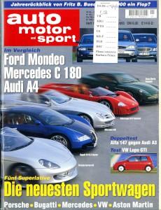 'Auto Motor und Sport' German Magazine, December 2000 - 'Die Neuesten Sportwagen'
