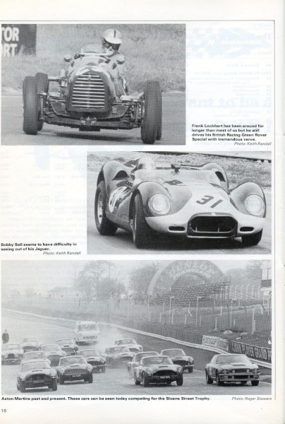image Bottom: Aston Martins past & present in the Sloane Street Trophy Race