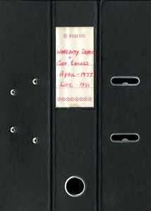 Black Lever Arch Folder with Warranty Defect and Costs Records, 1977-1981