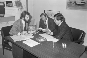 Black and White Negatives.Contract signing Mr Moto Yatah and Fred Hartley AML.13th November,1975.Also Workshop environment images.