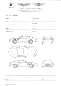 Pad of blank Aston Martin DB7 Paint report forms, issued 1994.