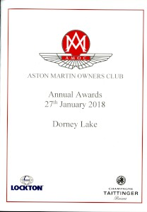 Programme: Aston Martin Owners Club Annual Awards (prizegiving), 27 January 2018.