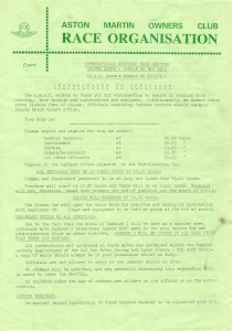 Entry Form and Instructions for International Historic Race Meeting 20th May 1979