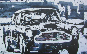 Stretched Canvas print of a DB4 GT, rendered as a black and white painting