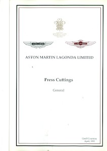 Aston Martin compiled Press Cuttings booklet, 'General' 1993
