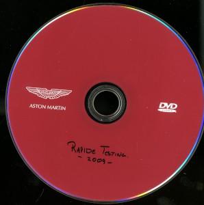 DVD: Company DVD of testing of the Aston Martin Rapide (KX58 LHB), 2009.