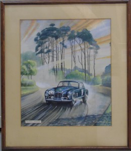 Framed print featuring Reg Parnell racing an Aston Martin during the 1950 Le Mans 24 Hours race. Artist: Richard Winby.