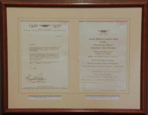 Two framed documents for the Aston Martin Owners Club (50 years of the Company?) Jubilee dinner, 24 October 1970.