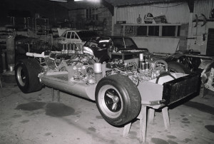 Black and White Negative Strips:P.A.O.-Lola Aston-DBR1/2 in workshop.14th December,1975.